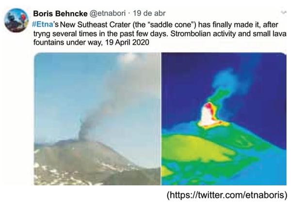 Leia o tuíte e analise as imagens publicadas por Boris Behncke em 19.04.2020.