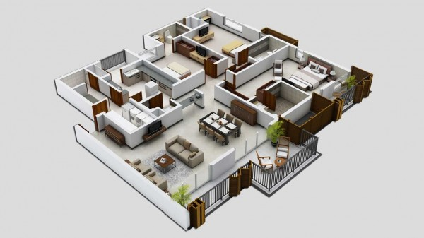 70 Denah 3d Rumah Minimalis 3 Kamar Tidur Rumahku Unik