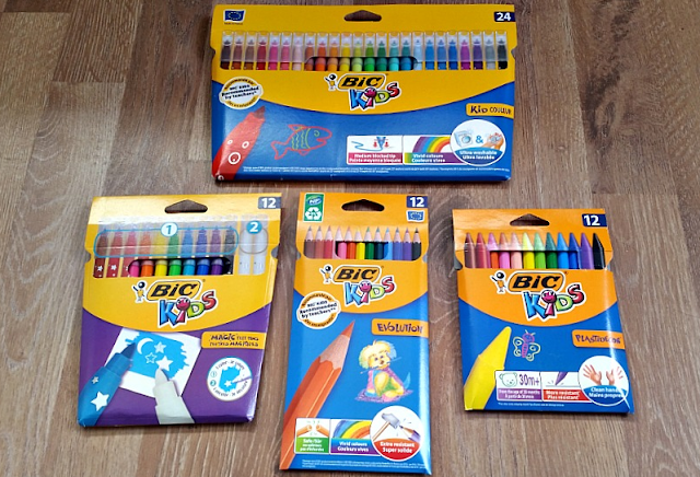A selection of BIC kids pens and pencils.
