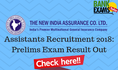 NIACL Assistants Recruitment 2018: Prelims Exam Result Out