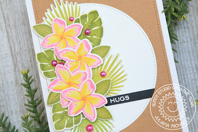 Sunny Studio Stamps: Stitched Semi-Circle Dies Radiant Plumeria Everyday Card by Juliana Michaels