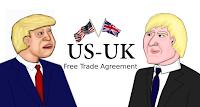 Cartoon of Boris Johnson and Donald Trump FTA by Wendy Cockcroft for On t'Internet