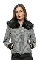 Jacheta negru cu alb cu guler de blana