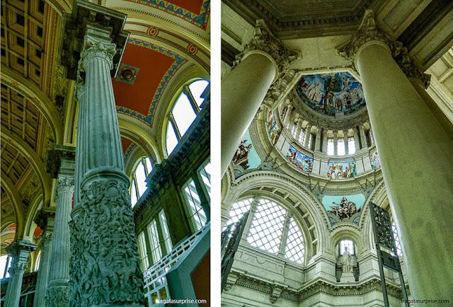Detalhe da decoração do Salão Oval (esq) e da Sala da Cúpula no Museu Nacional de arte da Catalunha, Barcelona