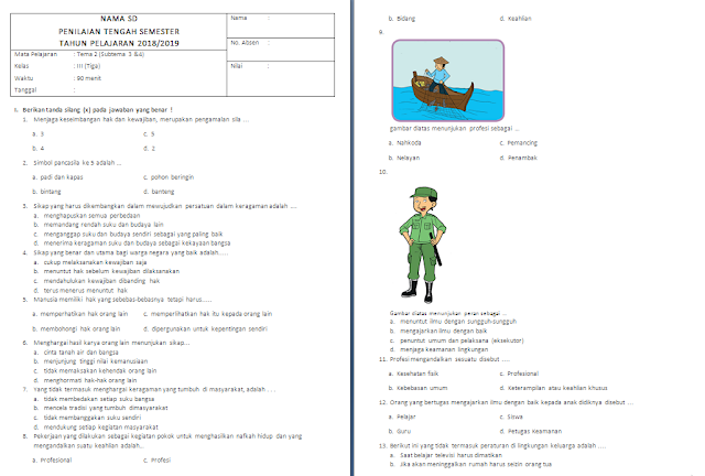 Soal PTS/UTS Kelas 3 SD/MI: Tema 2 Subtema 3-4