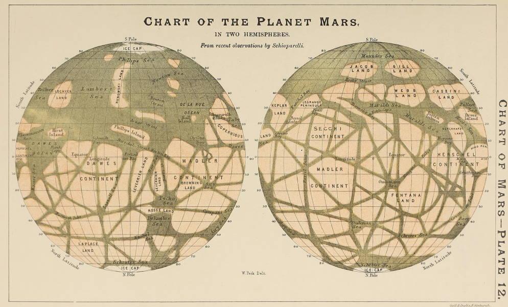map of Mars drawn by Italian astronomer Giovani Schiaparelli