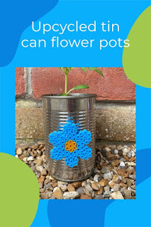 Upcycled tin can flower pots with Hama beads tutorial