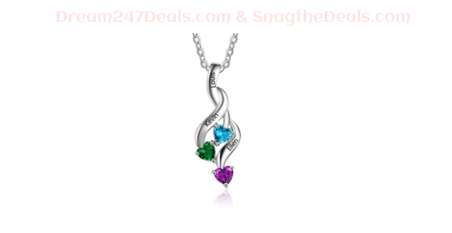 70% off Birthstone Necklace with Name Engraved