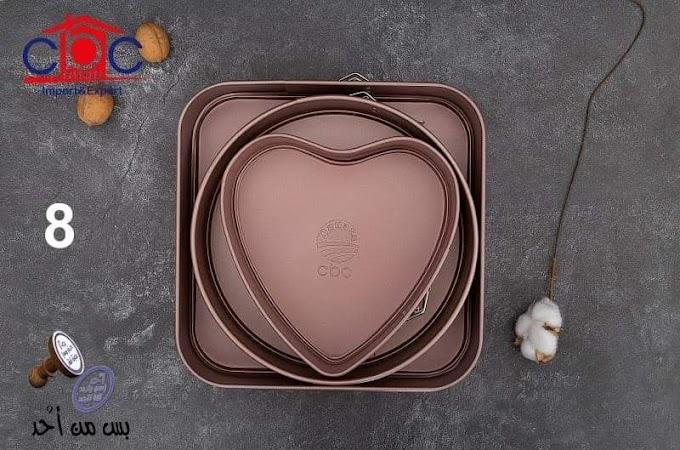 طقم كيك حرارى طقم اطباق فرن مربعة وعلى شكل قلب من 3 قطع من شركة احد