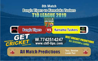 Who will win Today T10 2019, 8th Match Tigers vs Tuskers 8th, 100% Sure Prediction