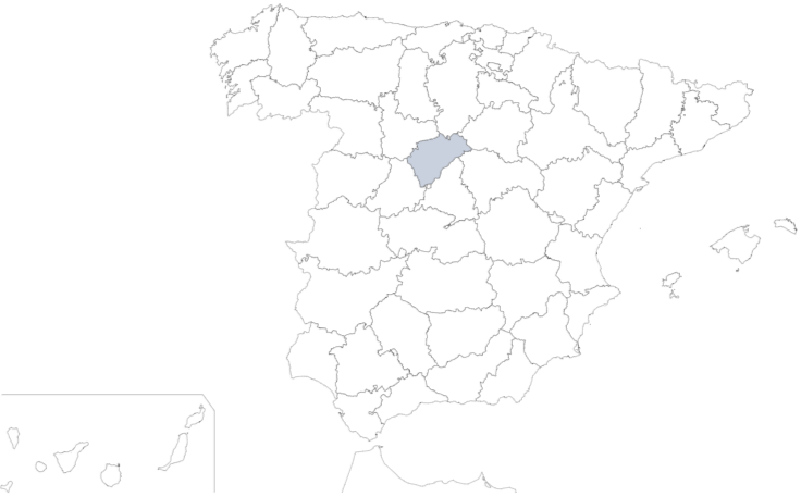 Provincia de Segovia en mapa de España