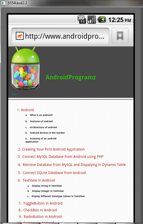 Android Tutorials Create Html File And Displaying In Android