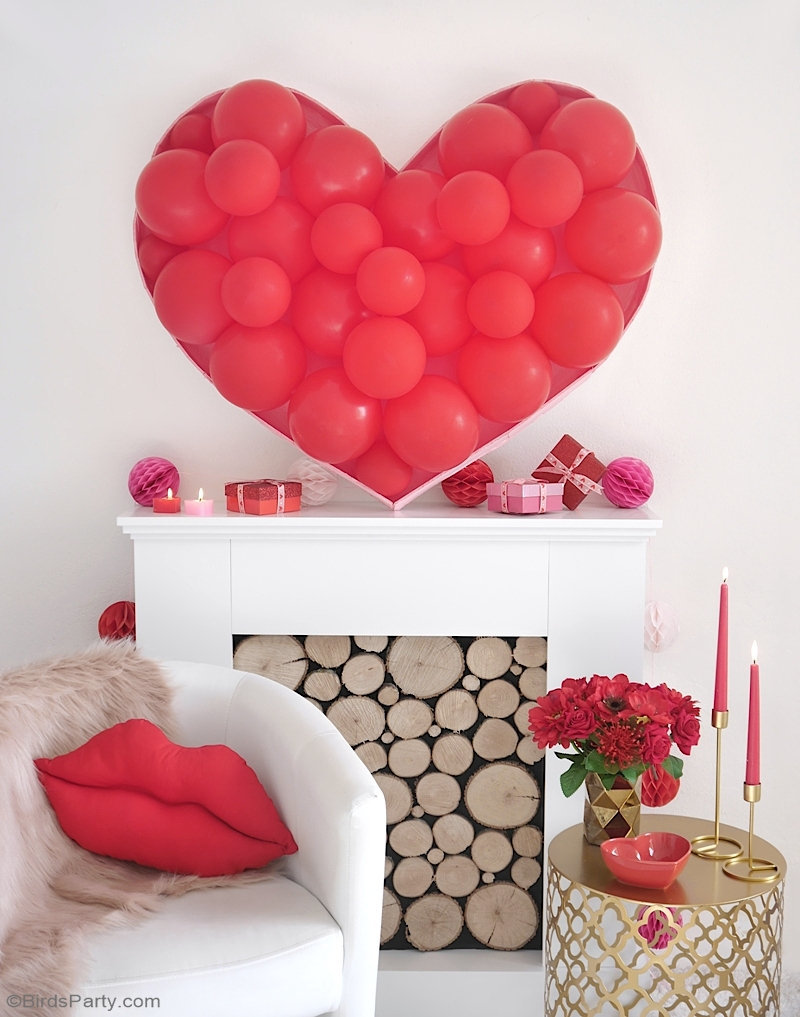 Balloon Heart Backdrop DIY  - a quick and easy to make decor idea to decorate for Valentine's Day, a bridal shower or wedding photo-booth! by BirdsParty.com @birdsparty #balloons #diybackdrop #diyweddingbackdrop #photobooth #heartballoonarch #balloonarch #heartballoon #balloonheartbackdrop #balloonbackdrop #diyballoonbackdrop #valentinesday