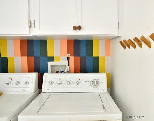 colorful rainbow mural diy laundry room ideas