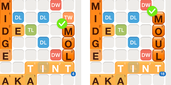 Screenshots of Words With Friends and playing the words molt and moult