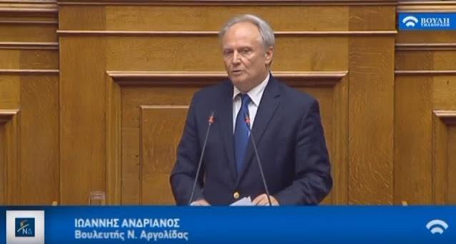 Παρέμβαση Ανδριανού στη Βουλή για την υποβολή αιτήσεων προσωρινής στήριξης σε αγρότες