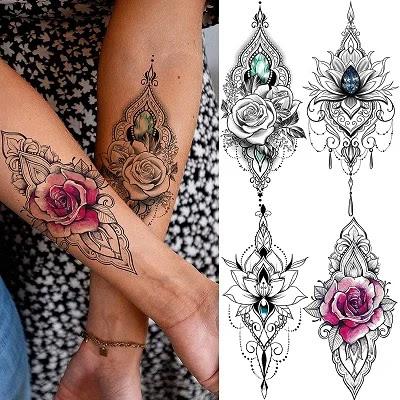 Tasroi Sexy Black Henna Temporary Tattoos