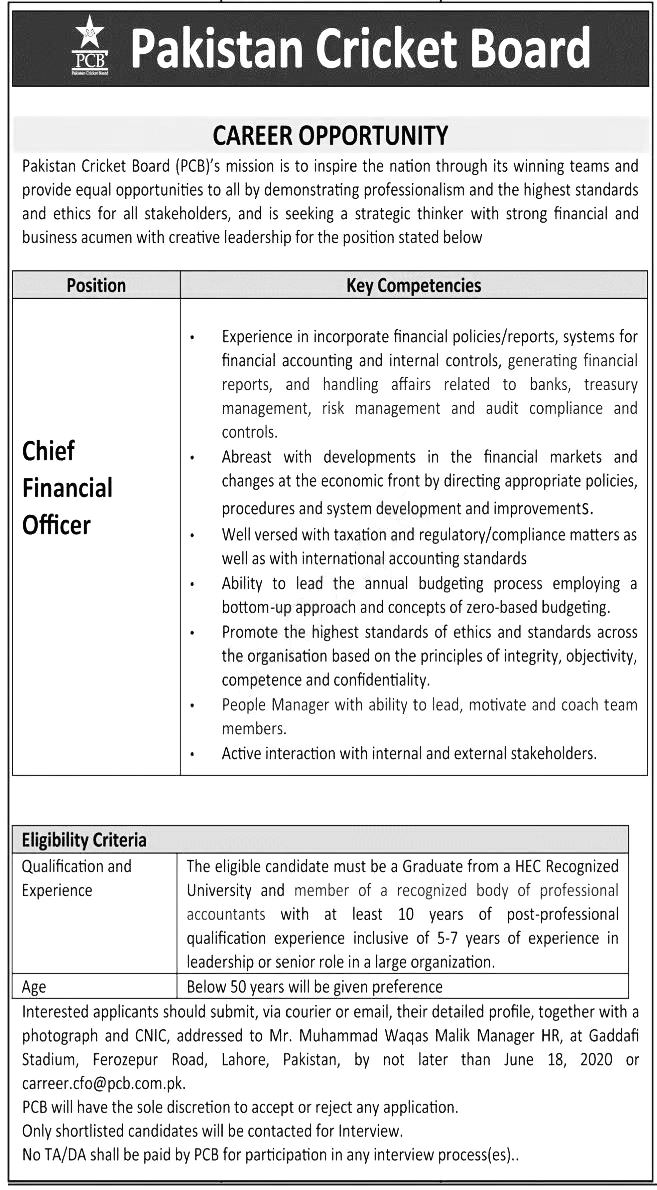 Jobs Available in PCB Lahore Chief Financial Officer Latest Govt Jobs 2020