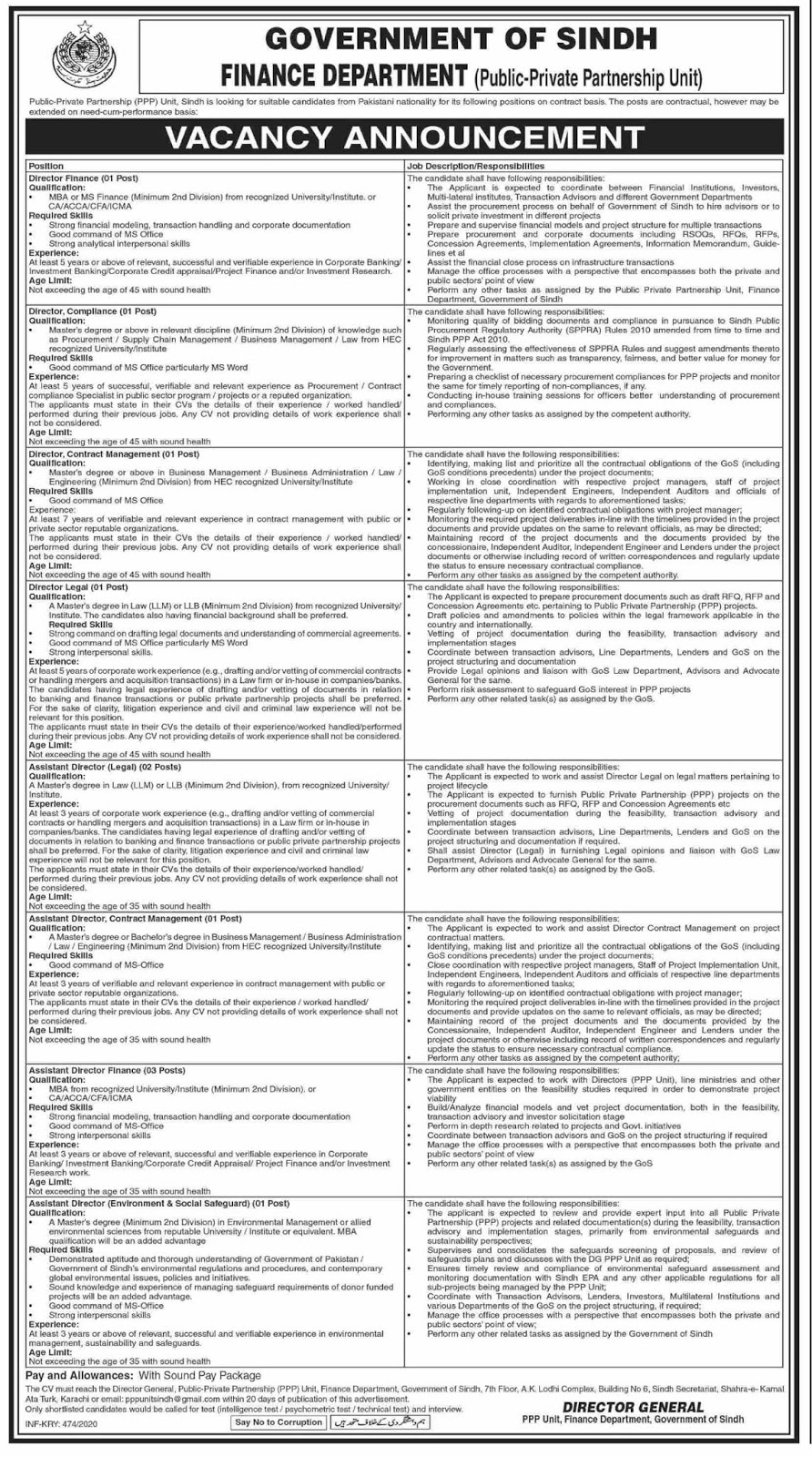 Finance Department Govt Of Sindh Jobs For Director Finance, Director Compliance and Others February 2020