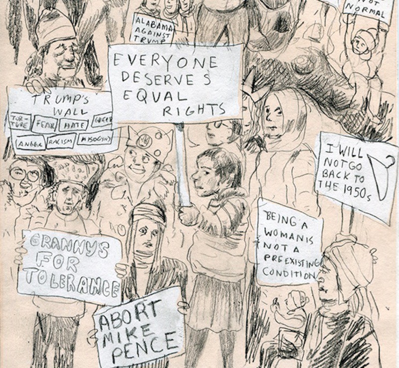Drawing the Women's March on Washington, by Lauren Weinstein.