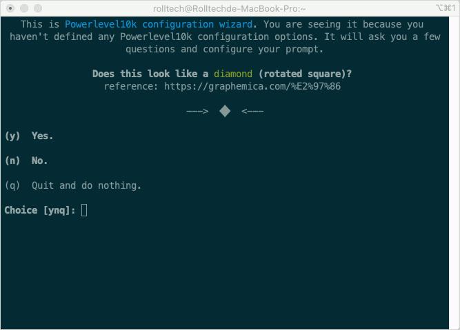 p10k configure 設定畫面