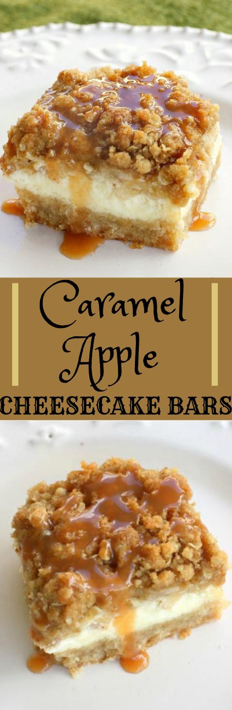 CARAMEL APPLE CHEESECAKE BARS #caramel #cake