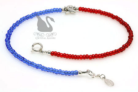 Red and Blue Pulmonary Fibrosis Awareness Anklet (AA115)