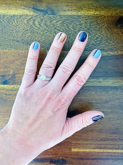 fall blue nails art designs, Zoya Tommy, Zoya Ibiza, Zoya Soleil