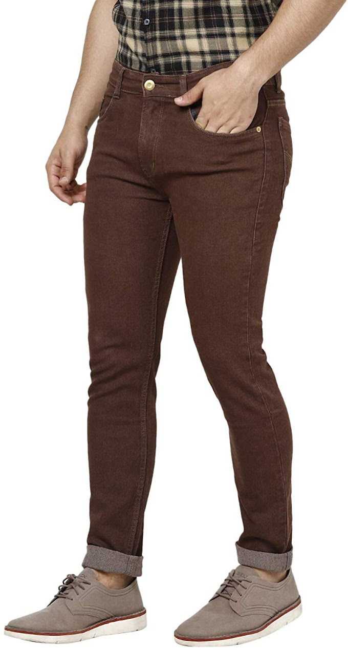 Mens Brown Slim Fit Denim Jeans Stretchable
