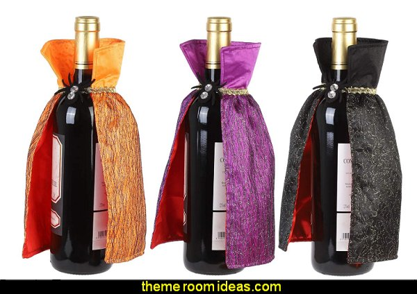 Wine Bottle Covers Wrap for Halloween Decorations,Unique Cloak Wine Bottle Dress Ornament Sets Wine Accessory Sets Gift for Halloween Party