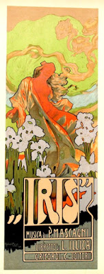Poster for Iris, by Adolf Hohenstein (1854 - 1928) - published by Casa Ricordi in 1898