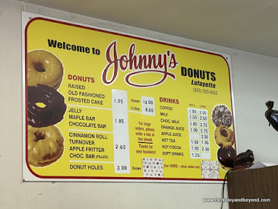 donut menu at Johnny's Donuts in Lafayette, California