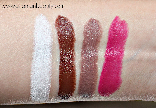 Review and Swatches of Maybelline's Loaded Bolds Lipsticks: Wickedly White, Gone Greige, Coffee Addiction, and Rebel Pink