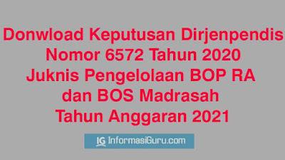 Download/ Unduh Keputusan Ditjen Pendis No 6572 Tahun 2020 Tentang Juknis BOP RA dan BOS Madrasah (MI-MTs-MA-MAK) Tahun Anggaran 2021 I PDF