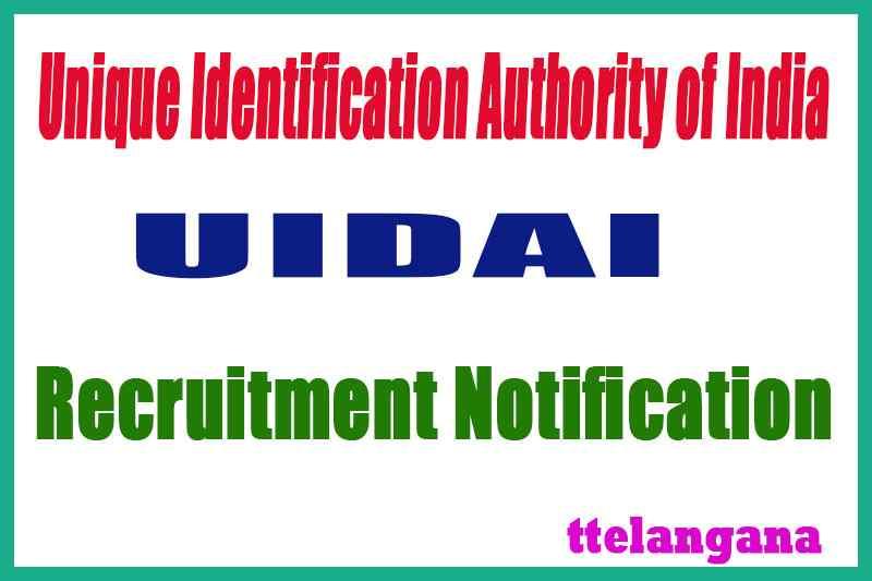 Unique Identification Authority of India UIDAI Rrcruitment Notification