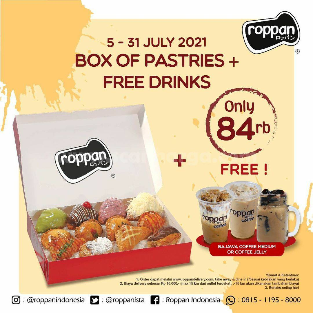 Roppan Promo Box Of Pastries + Free Drink only 84 Ribu