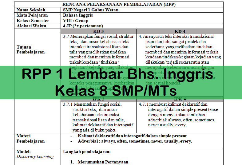 Rpp 1 Lembar Bhs Inggris Kelas 8 Smp Mts Antapedia Com