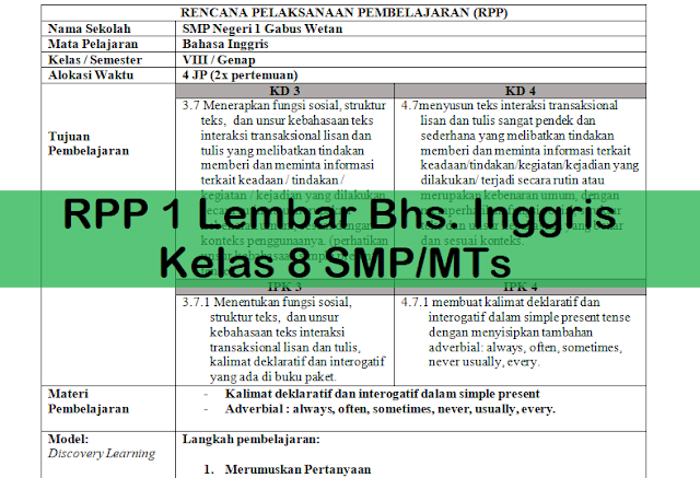 RPP 1 Lembar Bhs. Inggris Kelas 8 SMP/MTs
