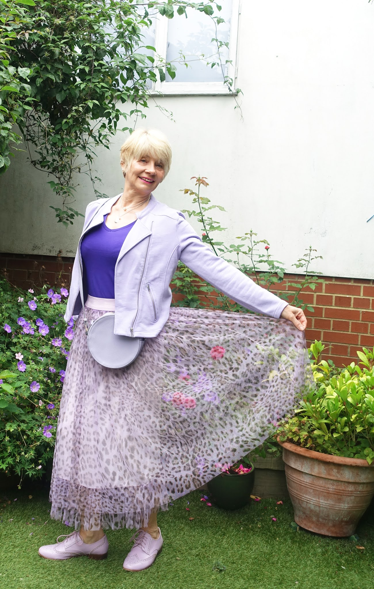 Tulle skirt over 50?  Gail Hanlon experiments with lilac leopard tulle skirt