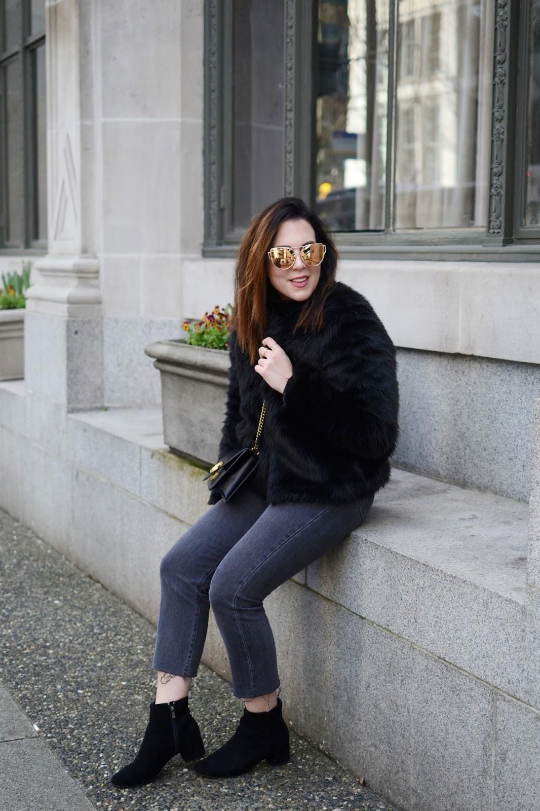 faux fur coat outfit levis wedgie jeans le chateau suede ankle boots gucci marmont bag aleesha harris
