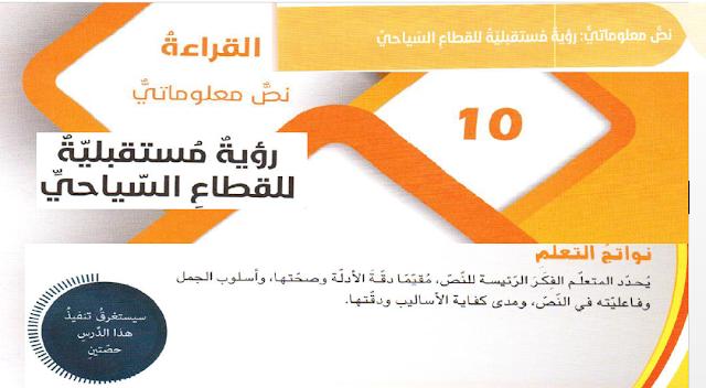 حل درس رؤية مستقبلية للقطاع السياحي للصف التاسع اللغه العربيه