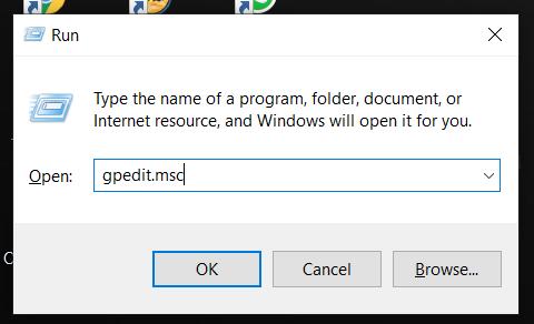 klik logo Windows + R, lalu kalian ketikan gpedit.msc