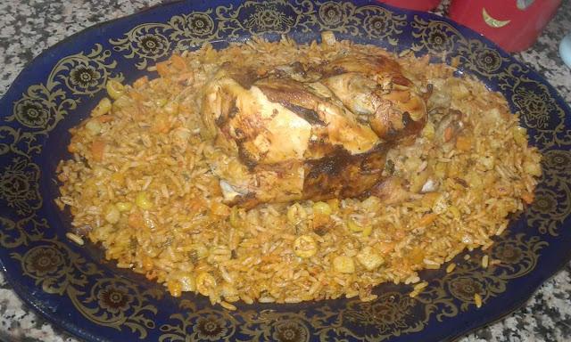 دجاج محشي بالخضر والأرز