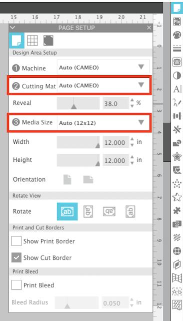 felt, cut settings, rotary blade, cameo 4, page setup