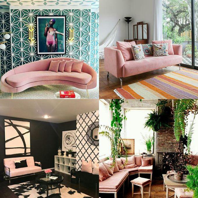 Decoração em rosa millennial - a vez do sofá rosa