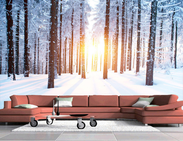 Wall Mural Ideas for Living Room Snow Forest Landscape