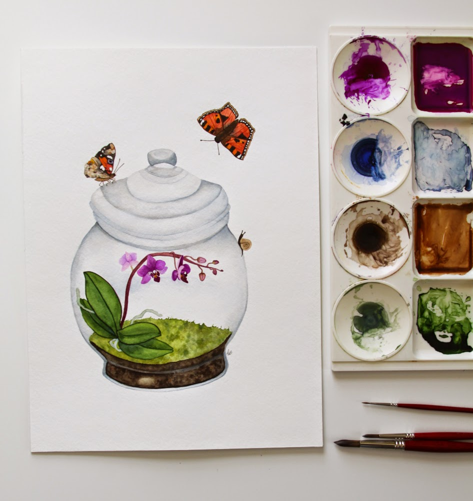 watercolor terrarium