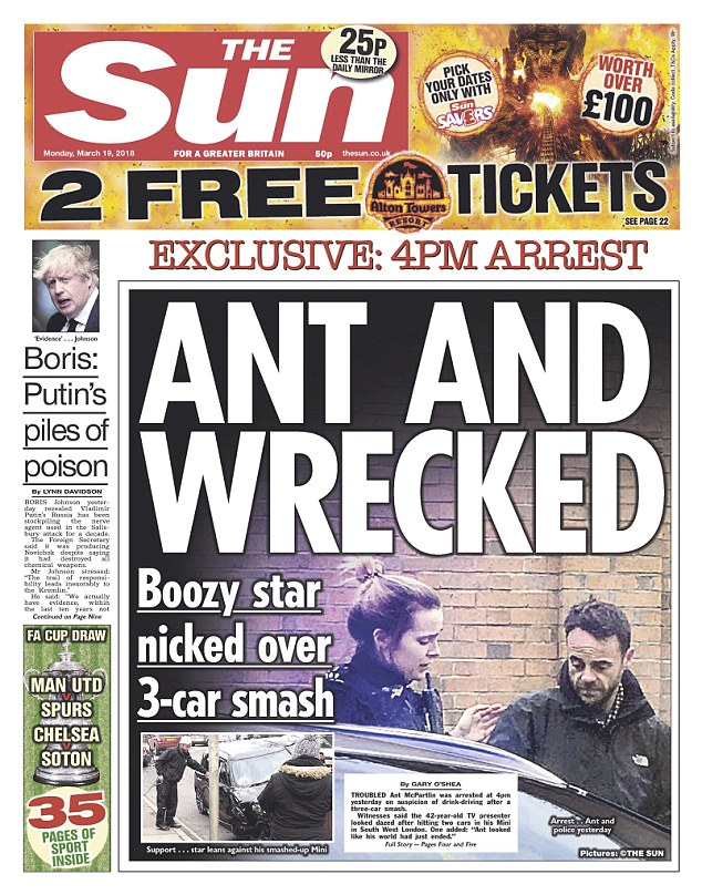 Ant McPartlin arrested for drink-driving after his vehicle smashed into two cars leaving a toddler hospitalized.