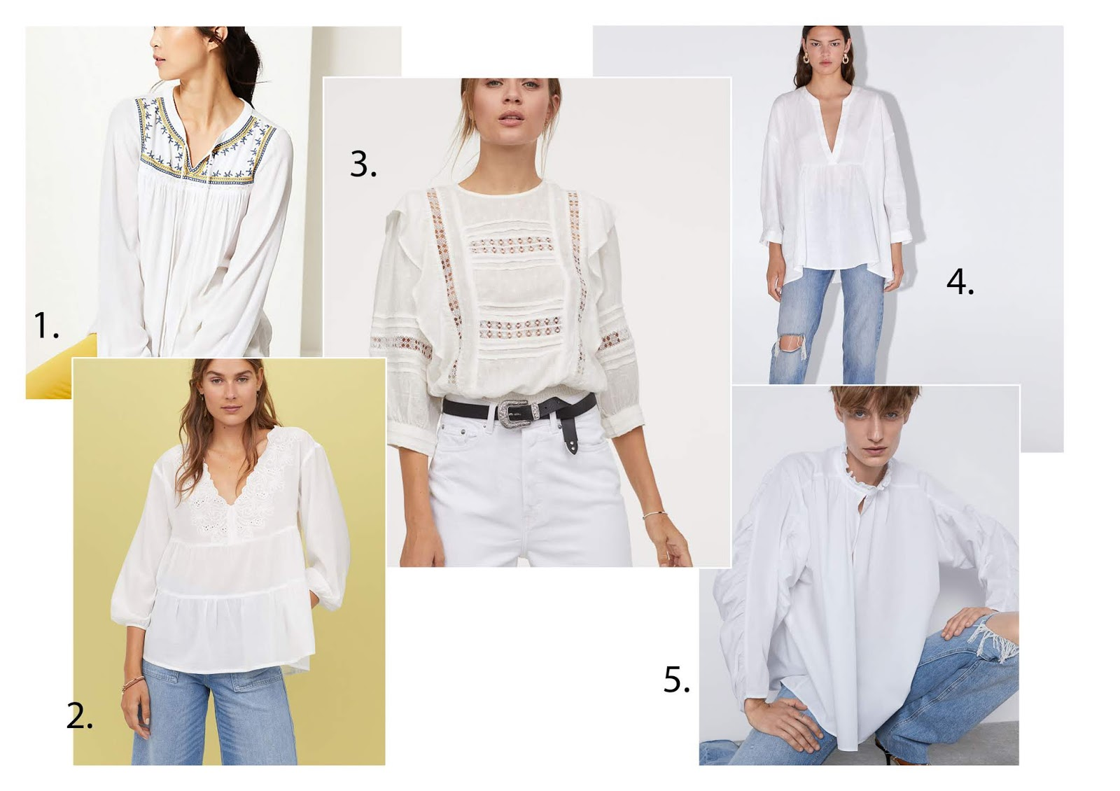 White peasant blouses from the high street