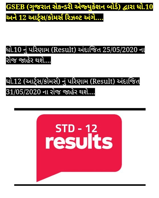 GSEB RESULT OF STD-10 & STD-12 ARTS & COMMERCE REALATED NEWS